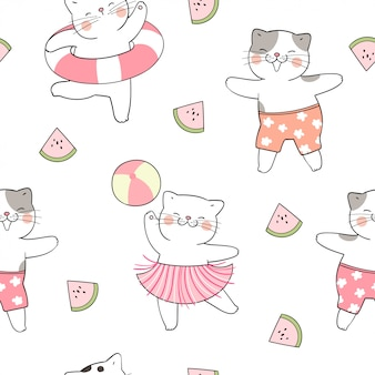 Draw seamless pattern funny cat for summer season.