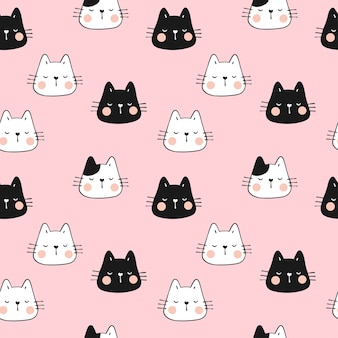 Draw seamless pattern funny head of cat on pink.