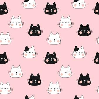 ピンクに猫のシームレスなパターン面白い頭を描きます。