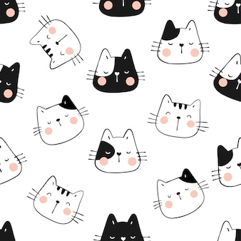 猫の面白い頭をシームレスなパターンで描きます。