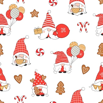 Draw seamless pattern gnome for christmas and winter