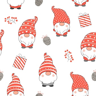 Draw seamless pattern gnome for christmas.
