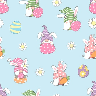 Draw seamless pattern gnome for easter