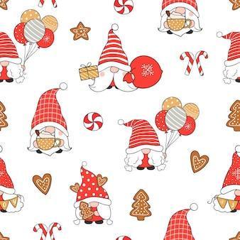 Нарисуйте бесшовные модели гнома на рождество и зиму