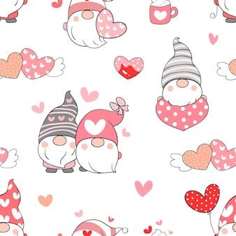 バレンタインデーのためのシームレスなパターンのノームを描く