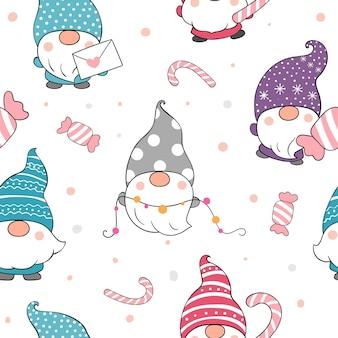 冬のクリスマスのためのシームレスなパターンのノームを描く