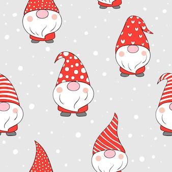 クリスマスのために雪の中でシームレスなパターンのノームを描く