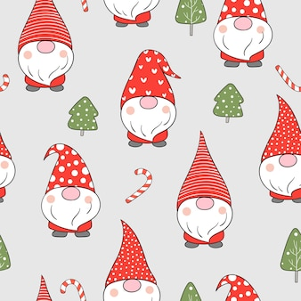 Draw seamless pattern gnome in snow for winter christmas.