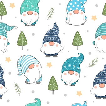Draw seamless pattern gnome for winter.