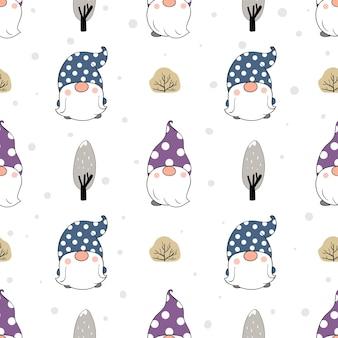 Нарисуйте бесшовные модели гнома со снегом на белом для зимы.