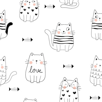 Draw seamless pattern  happy cat with fish