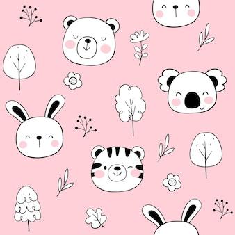 ピンクにシームレスなパターンの幸せそうな顔の動物を描く