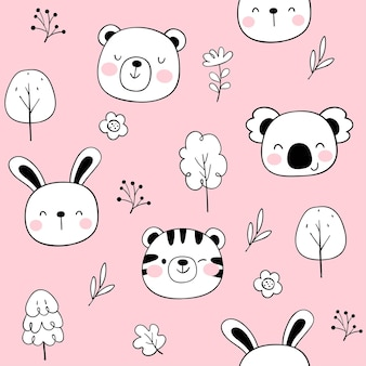 Draw seamless pattern happy face animal on pink