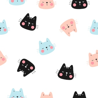 Draw seamless pattern head of cat with pastel color.