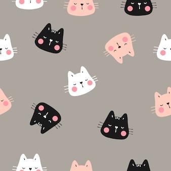 茶色のパステルで猫のシームレスパターンの頭を描く