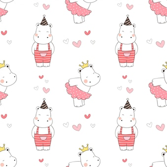 Draw seamless pattern hippo for valentine.