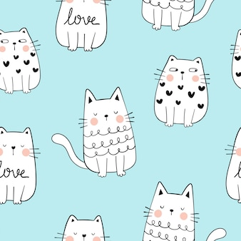 Draw seamless pattern outline of cute cat on blue pastel.