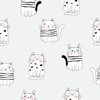 Draw seamless pattern outline of cute cat on gray.