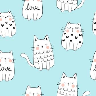 青いパステルでかわいい猫のシームレスパターンの輪郭を描きます。