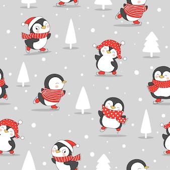 Нарисуйте бесшовные модели пингвина в снегу на зиму Premium векторы