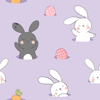 Draw seamless pattern rabbit with egg on purple pastel