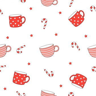 Draw seamless pattern red cup of coffee and tea