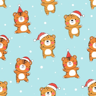 Draw seamless pattern tiger in snow for christmas