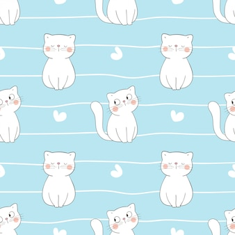 Draw seamless pattern white cat with little heart on blue.