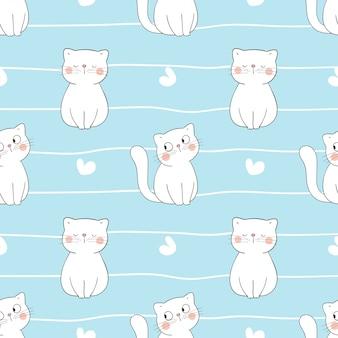 青の小さな心でシームレスなパターンの白猫を描きます。