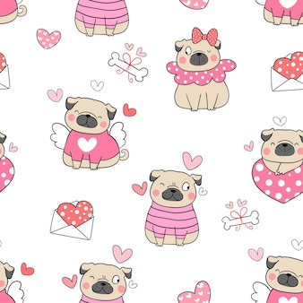 Draw seamless pug dog for valentine day doodle style