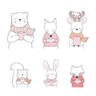 Нарисуйте набор животных на рождество и новый год.