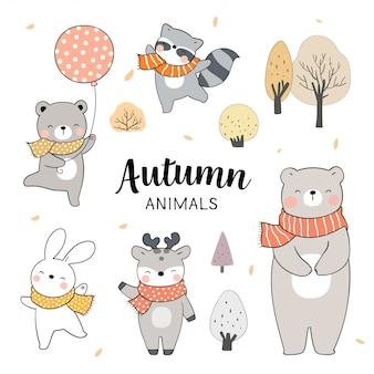 Нарисуйте набор животных для осеннего сезона. концепция леса.