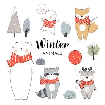 Нарисуйте набор животных на зимнее рождество и новый год.