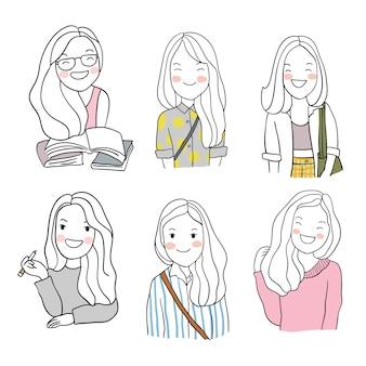 Нарисовать набор символов счастливой девушки doodle мультяшный стиль