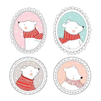 Draw set polar bear in vintage frame for christmas day.
