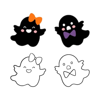 Draw silhouette kids ghost svg halloween boy and girl