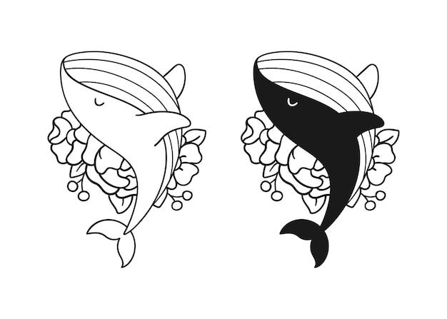 ファイルを切るために花でシルエットのクジラを描く