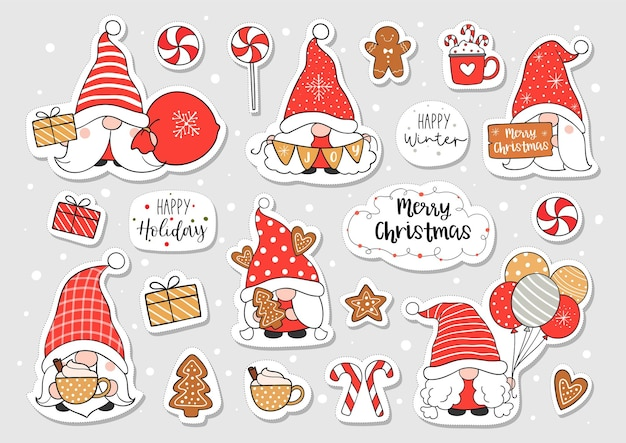 Draw sticker gnome for christmas and winter