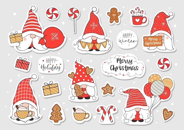 Нарисуйте стикер гнома на рождество и зиму