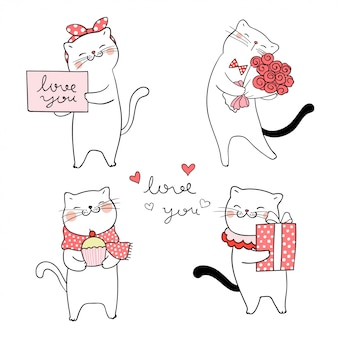 Draw sweet cat for valentine.