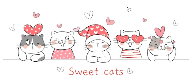 Draw sweet cats with little heart for valentine.
