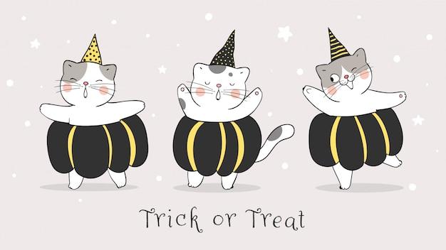 星の夜に黒いカボチャでベクターバナーかわいい猫を描きます。ハロウィーンの日。落書き漫画のスタイル。