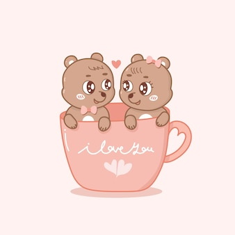 Draw vector illustration character couple love of cat in cup of tea.isolate on white so sweet.doodle cartoon style.