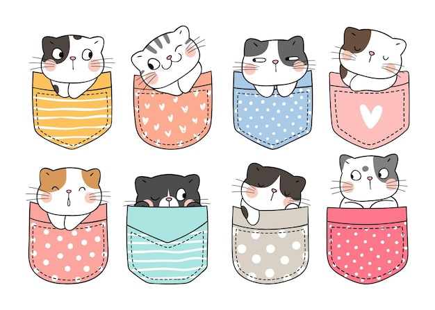 Draw vector illustration character design collection cute cats in pocket doodle cartoon style
