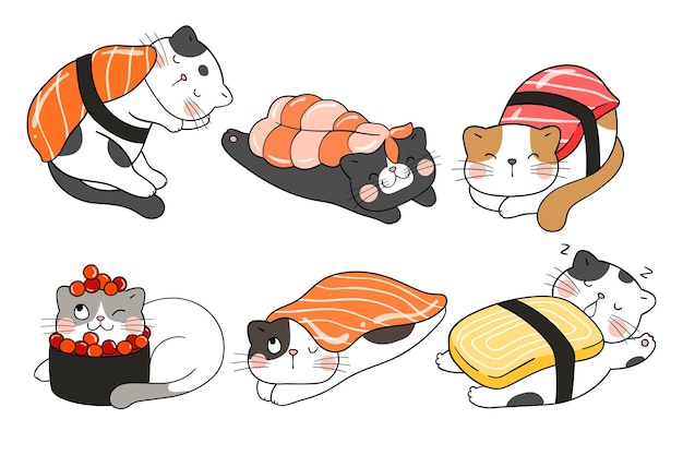 Draw vector illustration character design collection kawaii sushi cats  doodle cartoon style
