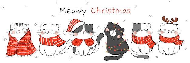 Draw vector illustration character design cute cat for christmas and new year doodle cartoon style