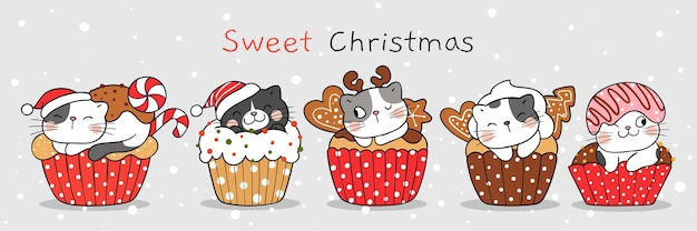 Draw vector illustration character design cute cat sweet christmas cupcake doodle cartoon style