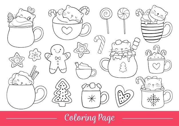 Нарисуйте векторные иллюстрации, раскраски страницу кошек со сладким рождеством, каракули мультяшном стиле