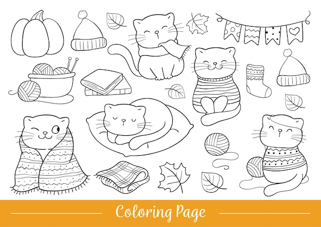 Draw vector illustration coloring page happy cat in autumn doodle cartoon style