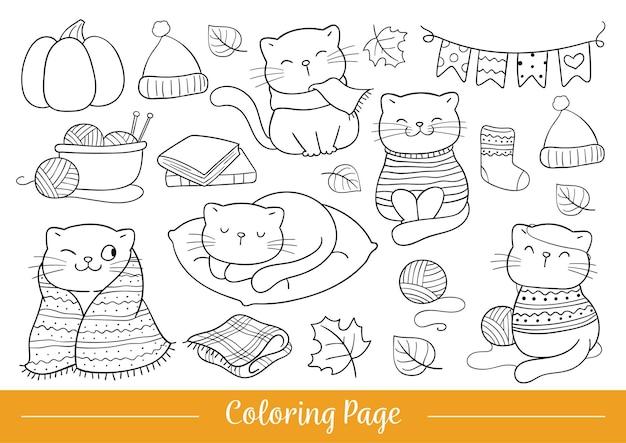 Нарисуйте векторные иллюстрации, раскраски страницу счастливого кота осенью каракули мультяшном стиле